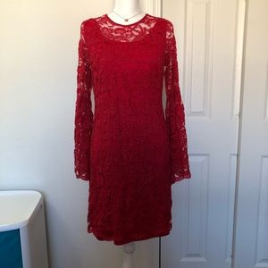 New York & Company Red Laced Dress